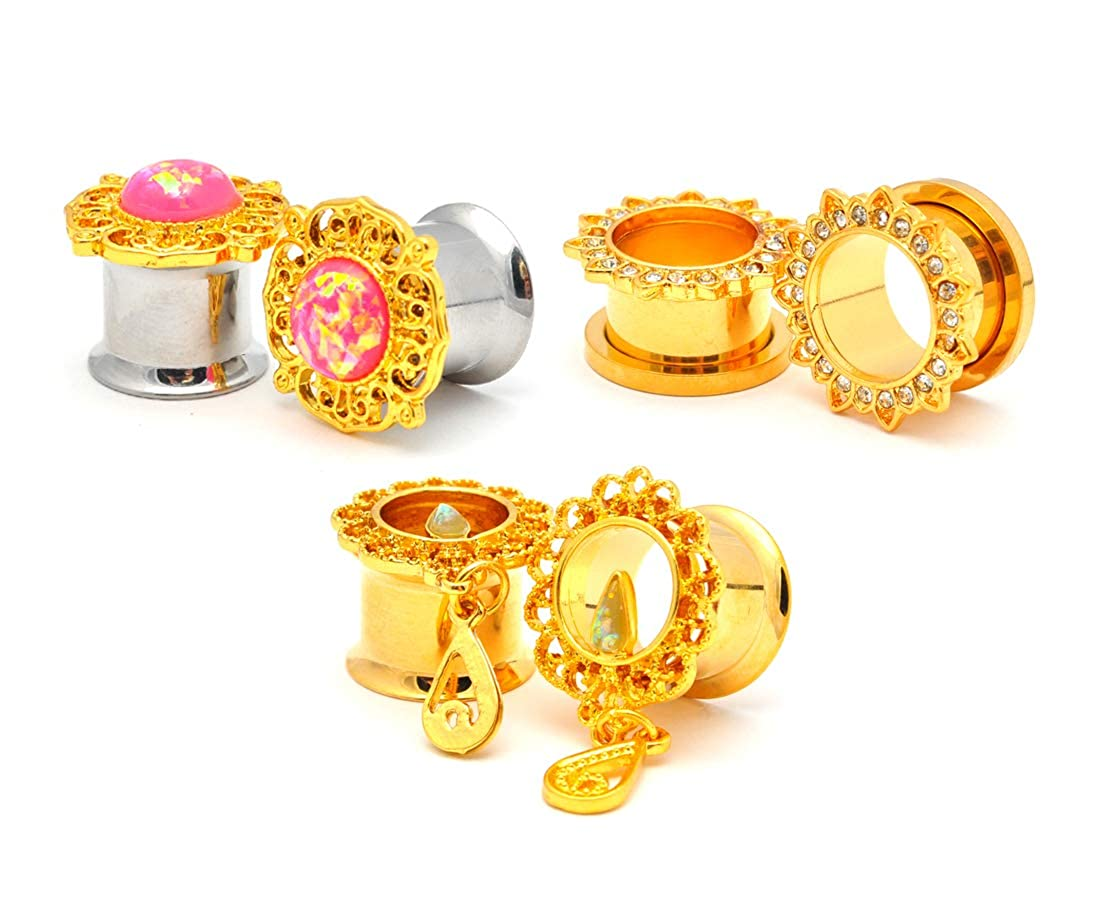 WL-106 Mystic Metals Body Jewelry Set of 3 Pairs Assorted Gold Steel Fancy Plugs Tunnels