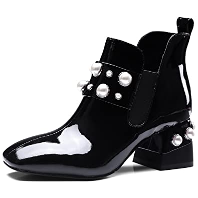 Patent Leather Women's Square Toe Chunky Heel Slip on Charming Handmade Pearls Ankle Boots