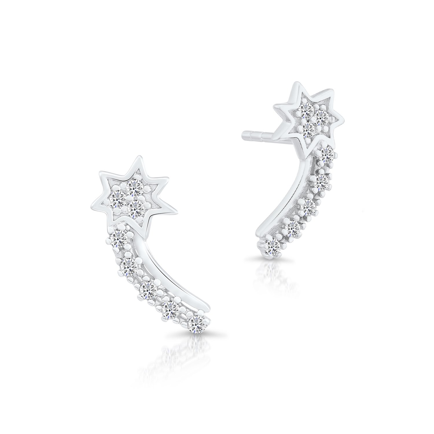 ee81bb318e3fa Amazon.com: Sterling Silver Shooting Star Stud Earrings with Cubic ...
