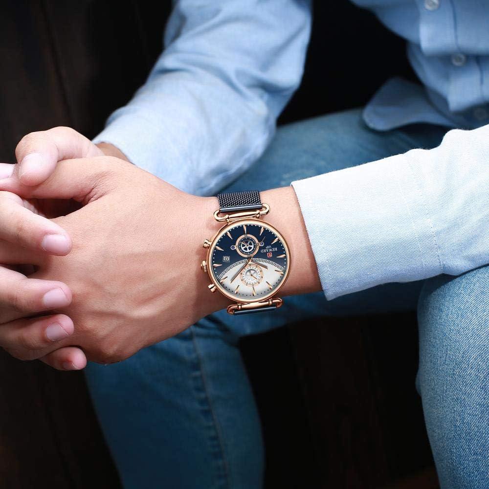 Montres Bracelet,Montre À Quartz Étanche pour Homme avec Chronographe À Cadran De Personnalité De La Mode Female E
