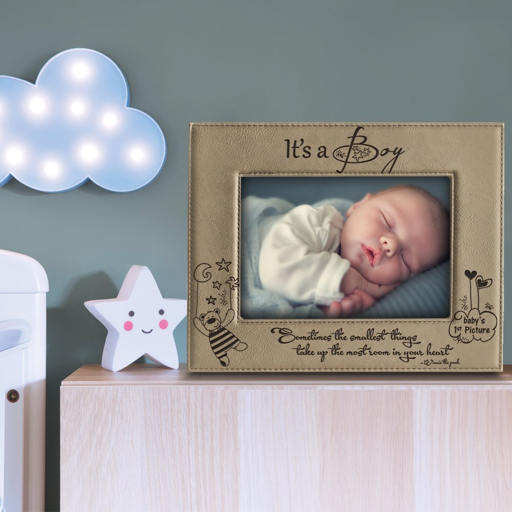 4x 6 Horizontal BELLA BUSTA Sometimes The Smallest Things take up The Most Room in Your Heart Winnie The Pooh Its a Boy BELA BUSTA -Its a Boy- Babys 1st Picture-Engraved Leather Picture Frame-
