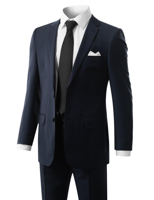 MONDAYSUIT Men's Modern Fit 2-Piece Suit Blazer Jacket & Trousers BLUE 46R 40W