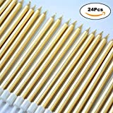 WEEPA 24 Count Party Long Thin Cake Candles Metallic Birthday Candles in Holders for Birthday Cakes Decorations, Gold