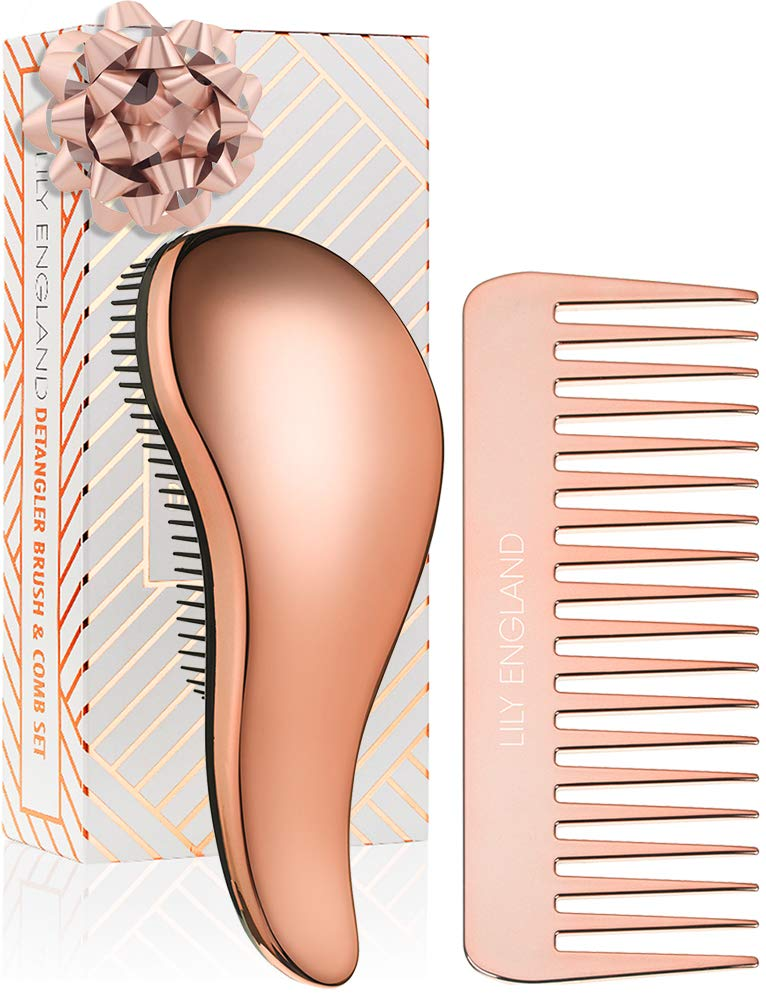 Lily England Detangling Hairbrush and Comb Set - Best Detangler Brush for Wet, Dry, Curly, Women & Kids Hair with Wide Tooth Comb - Rose Gold
