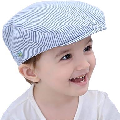 Chicos Gorra Plana Rayas Azules Sombrero Sol de Verano Niños ...