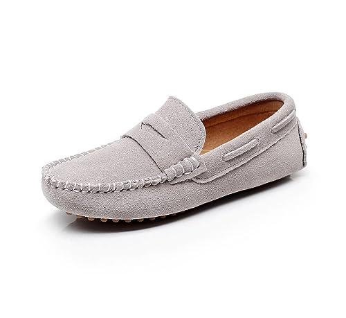 Shenn Chicos Chicas Linda Comodidad Ponerse Ante Cuero Mocasines Zapatos: Amazon.es: Zapatos y complementos