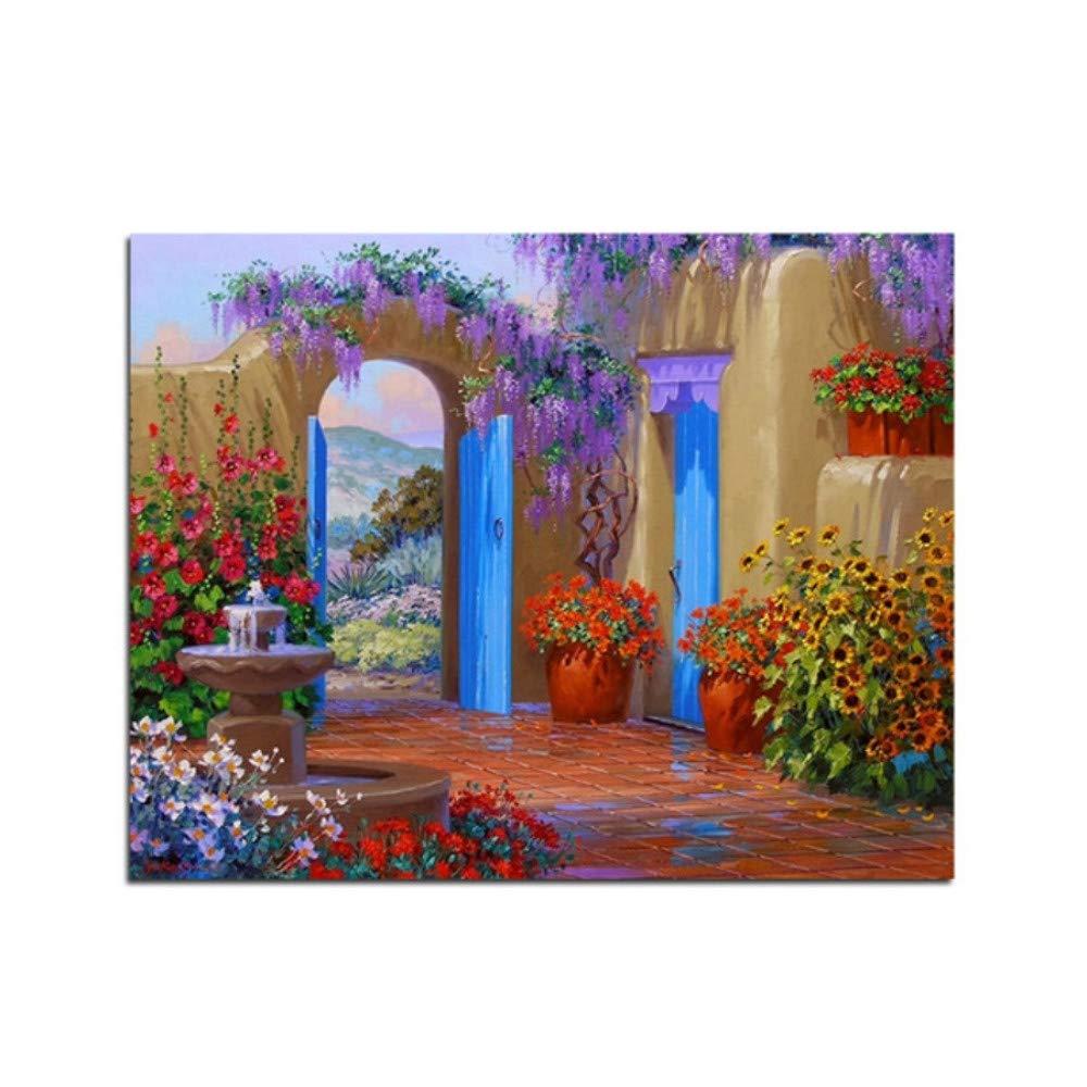 Yqgdss Jardín De Flores Pintura Al Óleo por Números sobre Lienzo Dibujo De Pared Decoración De La Pared Moderna 40X50cm Marco De Madera