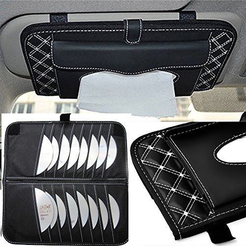 CD Visor Organizer,Car Sun Visor Tissue Bag Multi Function Double-deck Auto Extra Car Vehicle Pocket ,CD Holder Visor with Tissue Holder,16 Cd/dvd Slots Stored Safely CD Storage Cases for Car