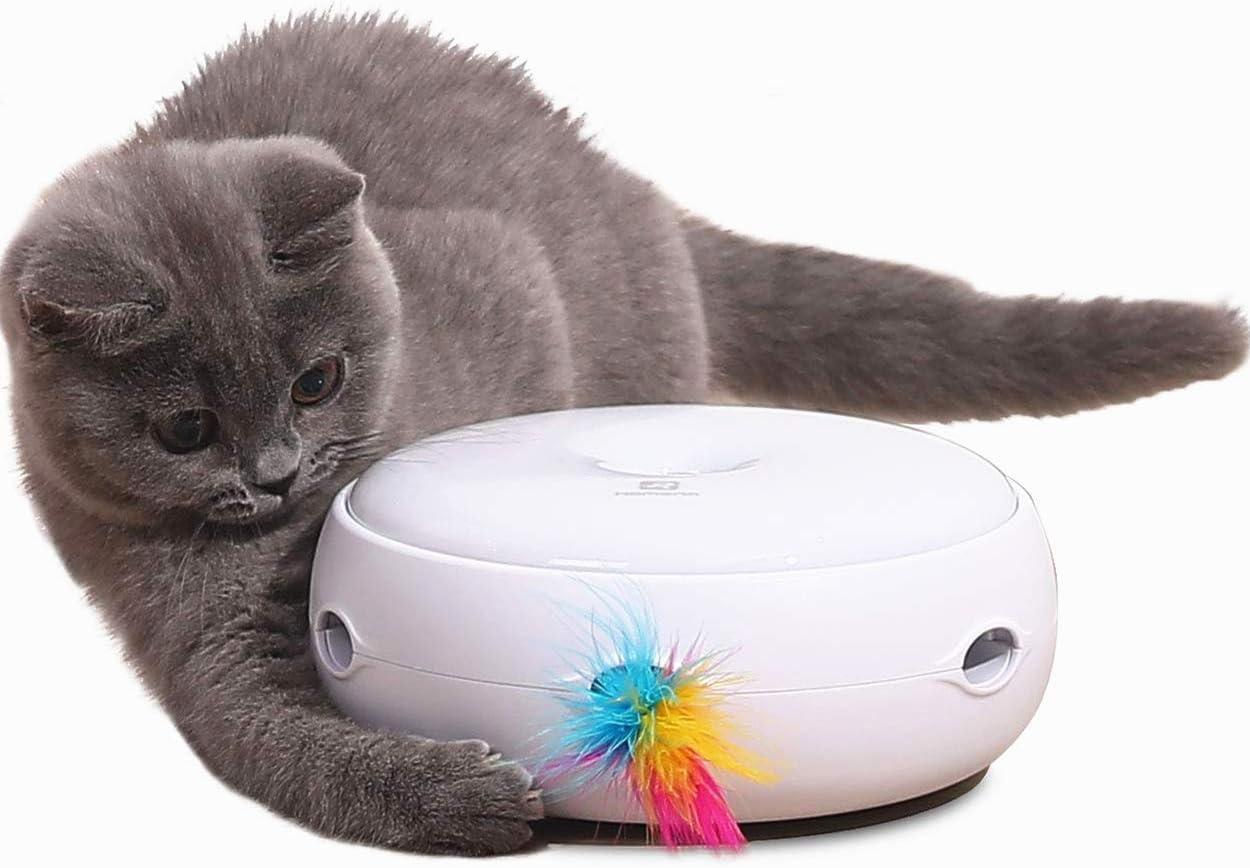 Lampop Juguetes para Gatos Interactivo Juguete Gato con 2 Plumas Automáticos Juguete para Gatos Reemplazables Giratorio Inteligente Cat Toys