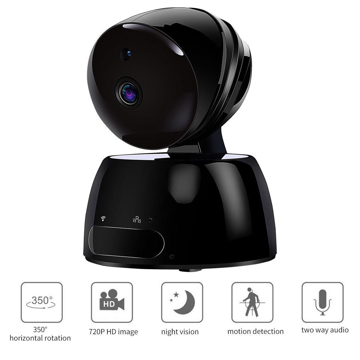 Wireless IP Camera, Bkayp 720P HD WiFi Cam Night Vision Home Security Camera Baby Pet Monitor Security Surveillance System P2P Pan Tilt Remote, Two-Way Audio Motion Detection Black