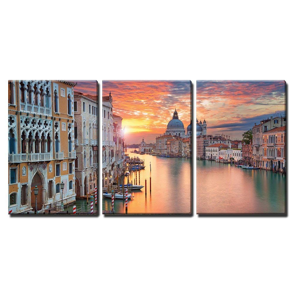 "wall26 - 3 Piece Canvas Wall Art - Venice. Image of Grand Canal in Venice, with Santa Maria Della Salute Basilica - Modern Home Decor Stretched and Framed Ready to Hang - 16""x24""x3 Panels"