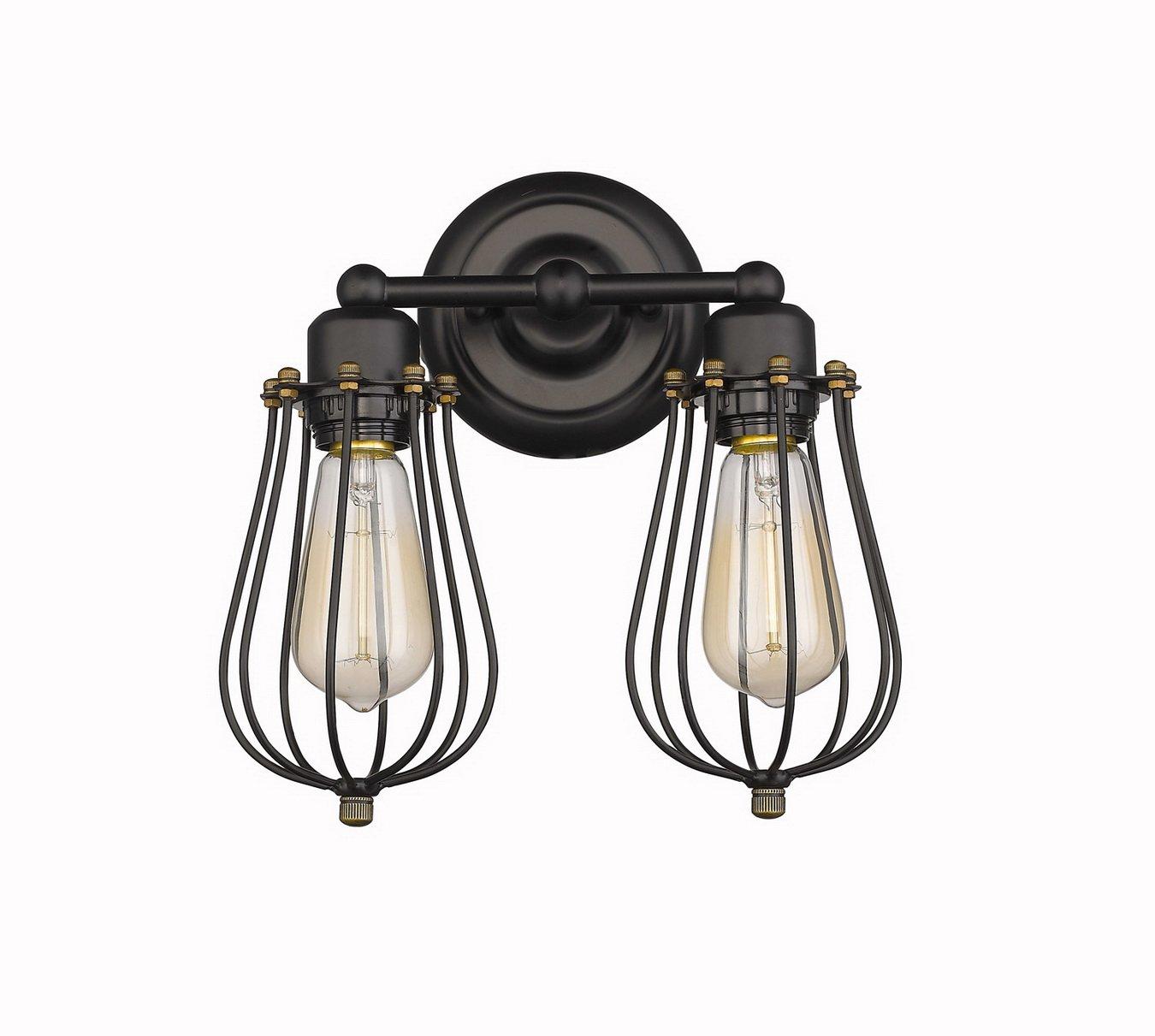 CLAXY Wandleuchten 2-flammig Wandlampen Antik Deko Design Schwarz Draht Korb (ohne Birne)