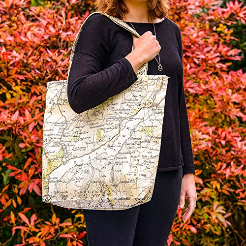 UK in Bag Printed Ullswater amp; Shopper the Designed Map Vintage Handmade 1wC8pvq