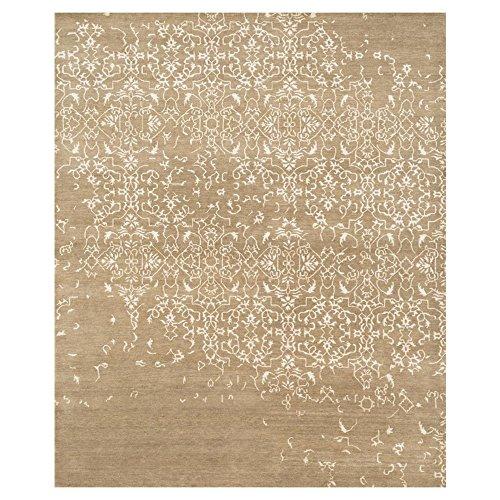 - Kathy Kuo Home Sisay Regency Taupe Brown Scroll Silk Wool Rug -5'6x8'6