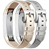 Tobfit Fitbit Alta HR and Fitbit Alta Leather Bands Replacement Leather Watch Bands With Stainless Steel Buckle for Fitbit Alta HR and Alta (Gold+Silver)