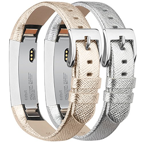 Tobfit Compatible with Fitbit Alta HR and Fitbit Alta Leather Bands Replacement Leather Watch Bands with Stainless Steel Buckle Compatible with Fitbit Alta HR and Alta (Gold+Silver)