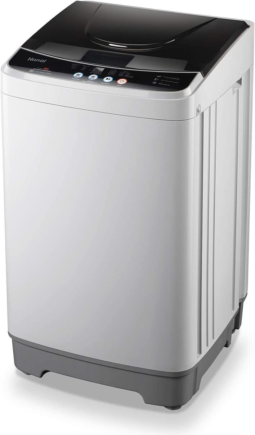 WANAI Full-Automatic Washing Machine 1.6cu.ft/12lbs Portable Compact 2 in 1 Laundry Washer with Drain Pump, 10 Programs 8 Water Level Selections with LED Display, Ideal for Dorm Apartment