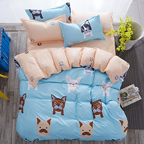 4pcs Bedding Sets Bedroom Set With 1 BedSheet 1 Duvet Cover 2 Pillowcase With Twin Full Queen Size Best Gifts (Twin, Cute Dog) (Cute Bed Sheets)