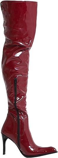 Vernice Stivali Coscia lungo rosso scuro con tacco Design