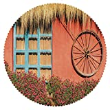 iPrint Eco-Friendly Round Tablecloth [ Barn Wood Wagon Wheel,Country House in Ecuador Red Wall Window Summer Flowers Straw Roof Decorative,Multicolor ] Fabric Home Decor Set