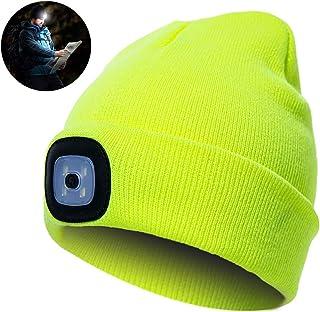 Beanie cap LED Luce Unisex Elettrica Cappello a Maglia per attività Esterna proiettore Campeggio Invernale Cappello Caldo Giallo DierCosy