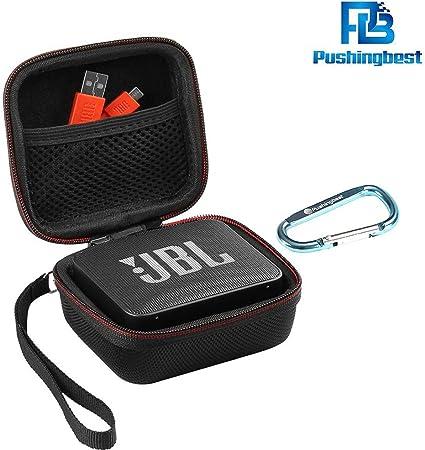 TALLA jbl go2 eva. Funda JBL GO 2, Pushingbest funda de transporte EVA Funda de altavoz Bluetooth JBL Go 1/2, bolsillo de red para cargador y cables (Negro)
