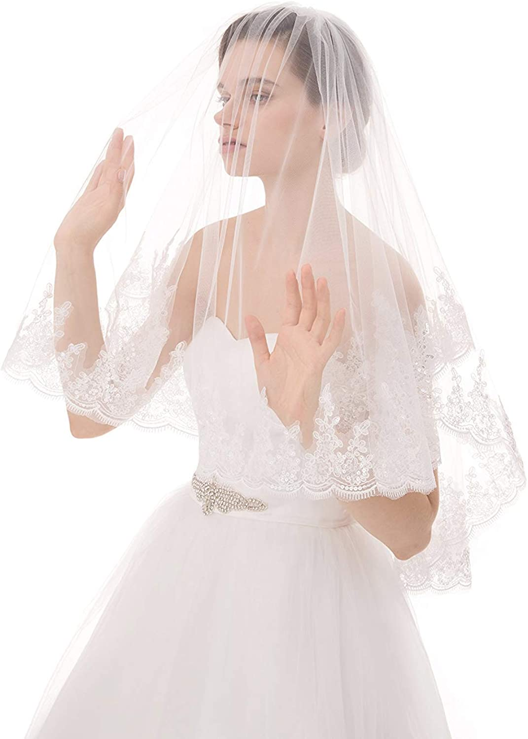 Eliffete 2Tier Tulle Wedding Bridal Veil Long Cathedral Veil for Bride with Comb
