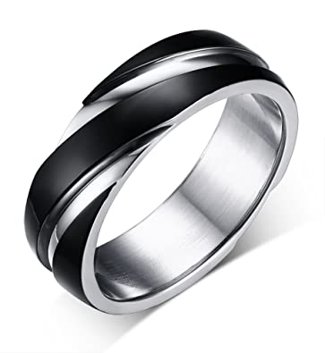 stainless steel wedding bands two tone grooves engagement rings black 6mm size - Stainless Steel Wedding Rings