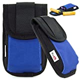AA AAA Battery Holder | Blue Nylon Storage Carrying Slim Case W/Back Pocket