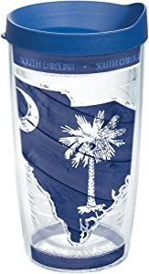 Tervis South Carolina Wood State Outline Insulated Tumbler with Wrap and Blue Lid, 16oz, Clear