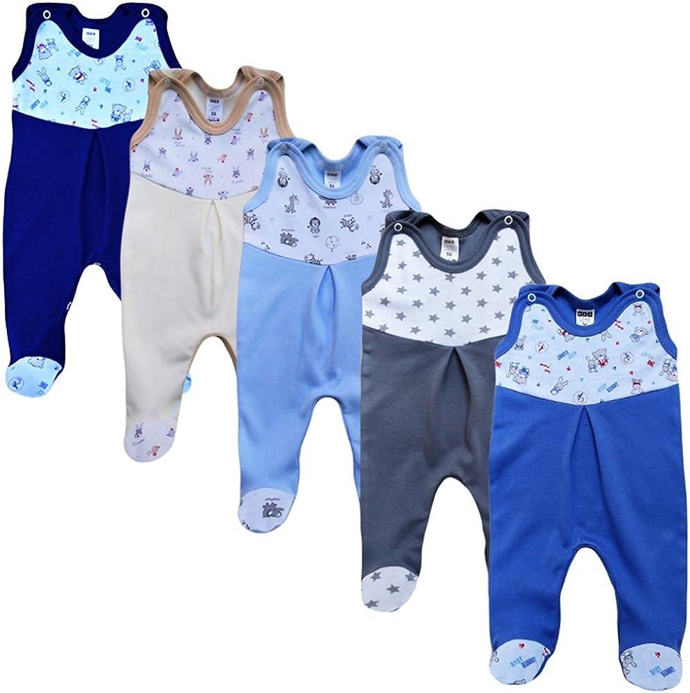 MEA BABY Unisex Strampler mit Aufdruck 5er Pack Baby Strampler M/ädchen Baby Strampler Junge Baumwolle
