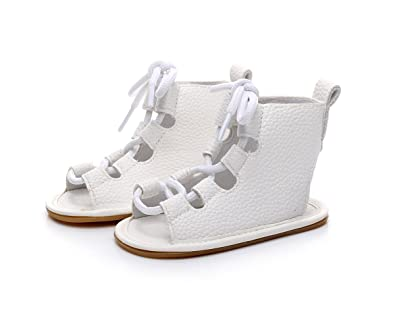 5679941f399 Baby Lace Up Rubber Sole Summer Baby Girls Gladiator Sandals Moccasins  Toddler Crib Shoes (12cm