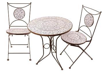 Esschert Design Table Et Chaises Jardin Fer Forge Ceramique 2 Personnes