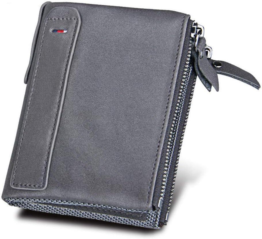 2020 Billetera De Cuero para Hombres RFID Billetera Antirrobo Billetera De Cuero Corta para Hombres Monedero Doble Monedero Regalo del DíA del Padre