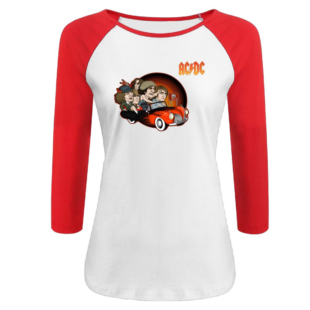 Women's Acdc 100% Cotton 3/4 Sleeve Athletic Raglan Sleeves T-Shirt