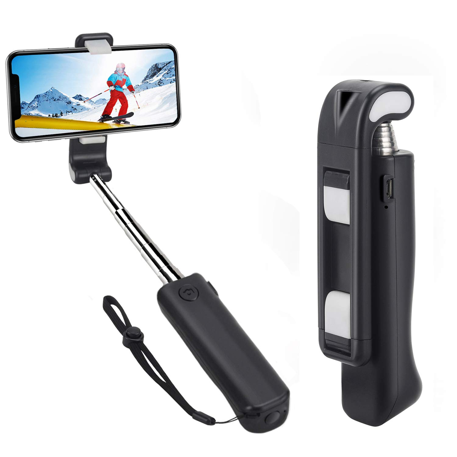 Selfie Stick,Jteman 5-in-1 Mini Bluetooth Selfie Stick Anti-Shake Hand Grip Cell Phone Holder Selfie Monopod Stick for iPhone Xs max/XR/X/8/7/6s,Samsung Galaxy S9/8/Note,and All Smartphone(Black) by jteman