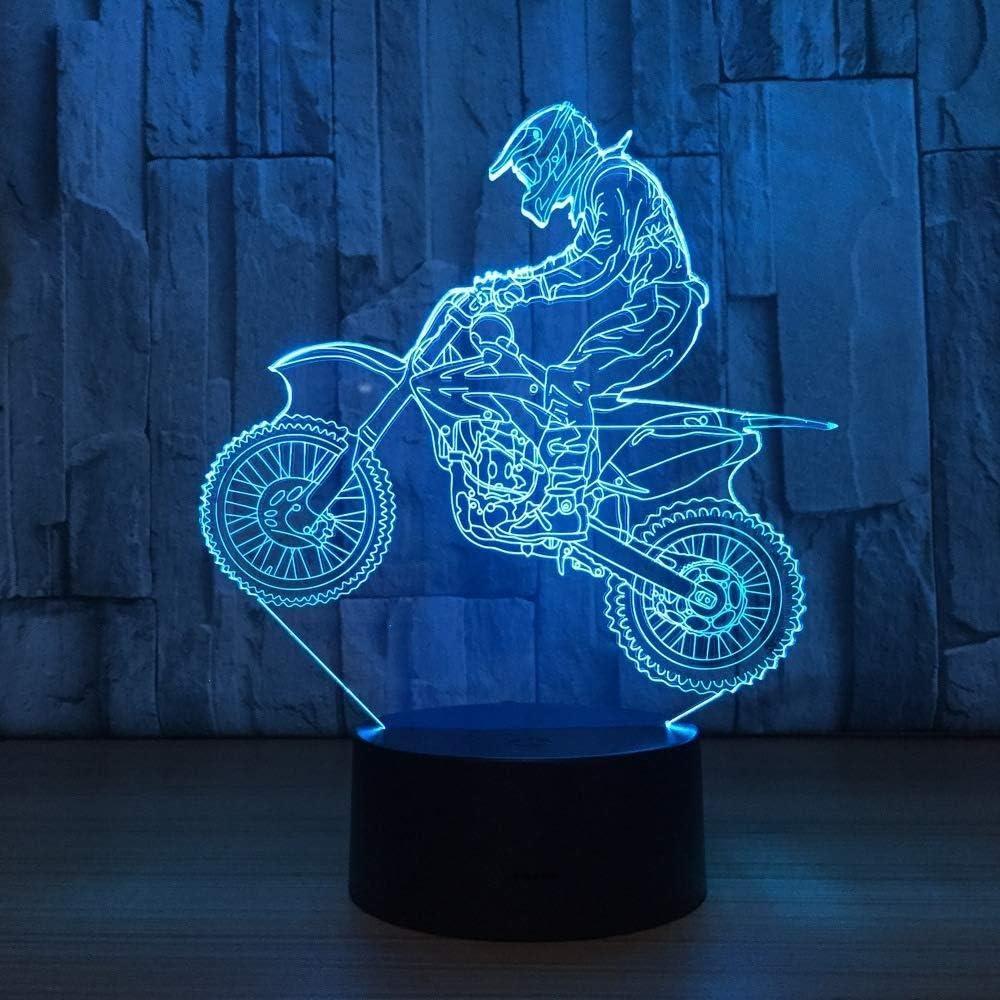 3D Illusion Night Light bluetooth Smart Control 7&16M Color Mobile App Led Vision bicicleta motocross Novedad Tableensor escritorio Como precio vacaciones cama para niños con botón USB para dormir