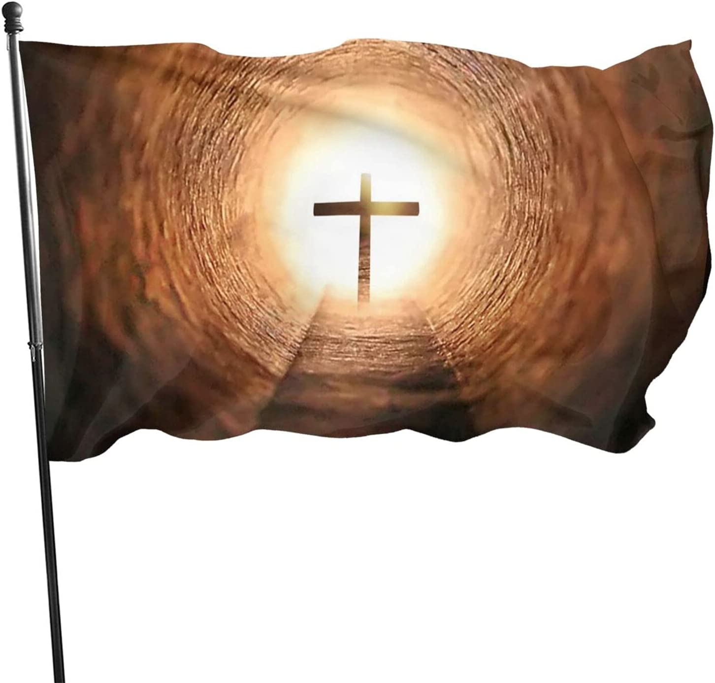 Christian Wallpapers Flag Polyester Decoration USA Christian Cross Flags, Home Yard Indoor Outdoor Banner Garden Flag 3x5 Ft