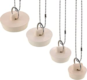 Norme 4 Pieces Drain Stopper Rubber Sink Stopper Drain Plug with Hanging Ring and 30 cm Ball Chains