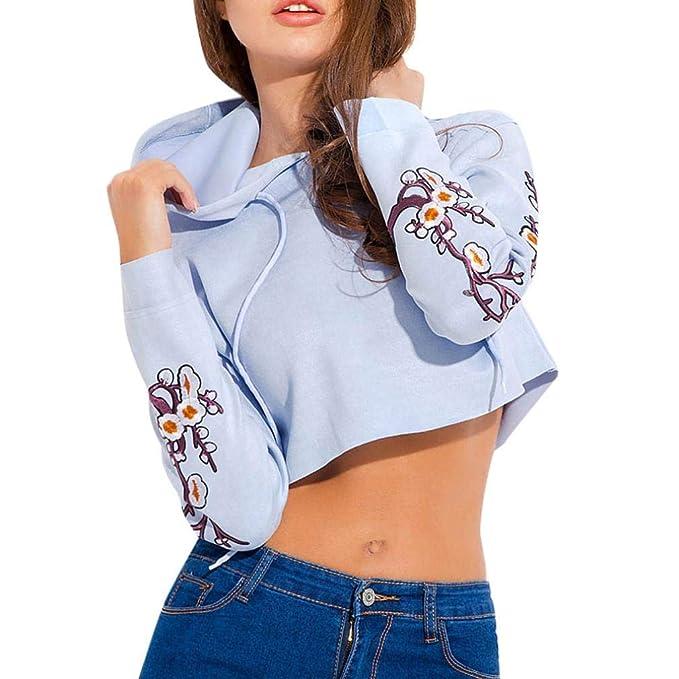 ASHOP Mujer Sudaderas, Deportivas Manga Larga Blusa Tops Corto Casual Sweatshirt Primavera y Otoño Apliques Sudaderas: Amazon.es: Ropa y accesorios