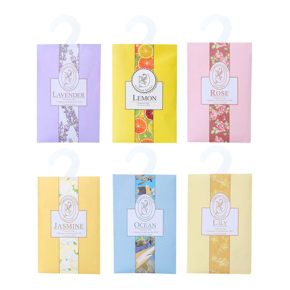 Vosarea Scented Sachets Bags for Wardrobe Drawers Closets and Cars Hanging Fresh Sachets Case 6pcs Random Flavor