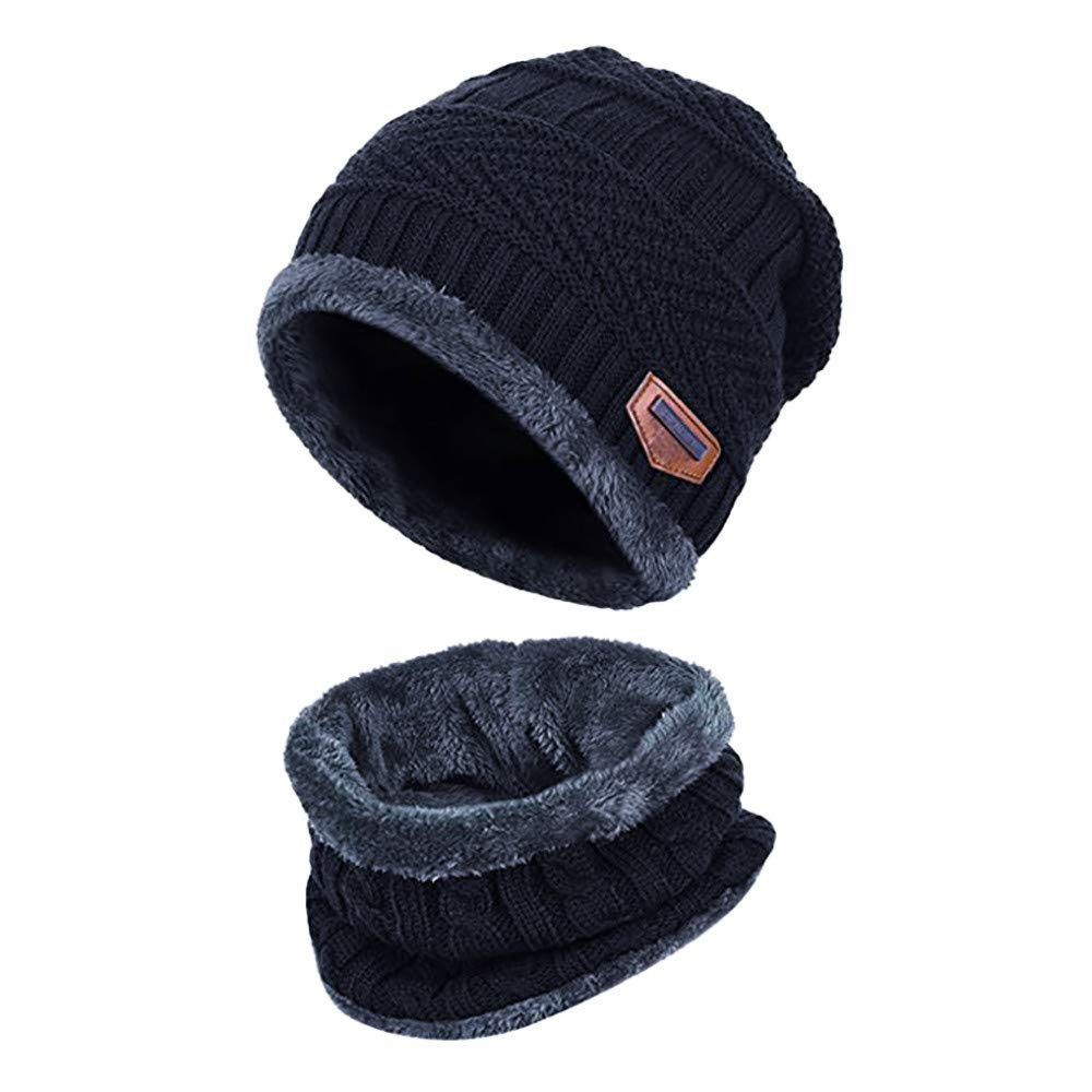 BSGSH Mens Womens Winter Beanie Hat Scarf Set Warm Faux Fleece Lining Snow Ski Skull Cap Scarf