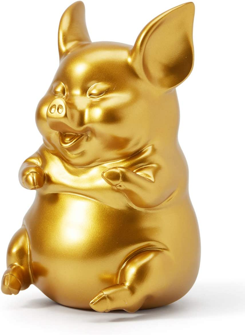 SEINHIJO Piggy Bank Coin Money Banks Sitting Pig Gifts Decor Statue for Baby Boys Girls Kids Resin Gold 21cmH