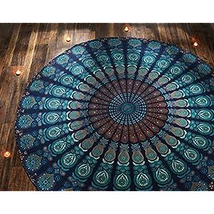Toalla Playa Redonda Azul Estilo Mandala Indio Tapiz Hippie Mantel Redondo Algodón Yoga o Para Picnic - 182 cm | DeHippies.com