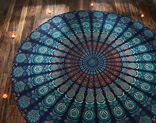 Indian Tablecloth - RAJRANG Indian Blue Mandala Round Roundie Beach Throw Tapestry Hippy Gypsy Cotton Tablecloth Hippie Boho Mandala Decor Meditation Yoga Mat Towel Bohemian Spread Cover Sheet