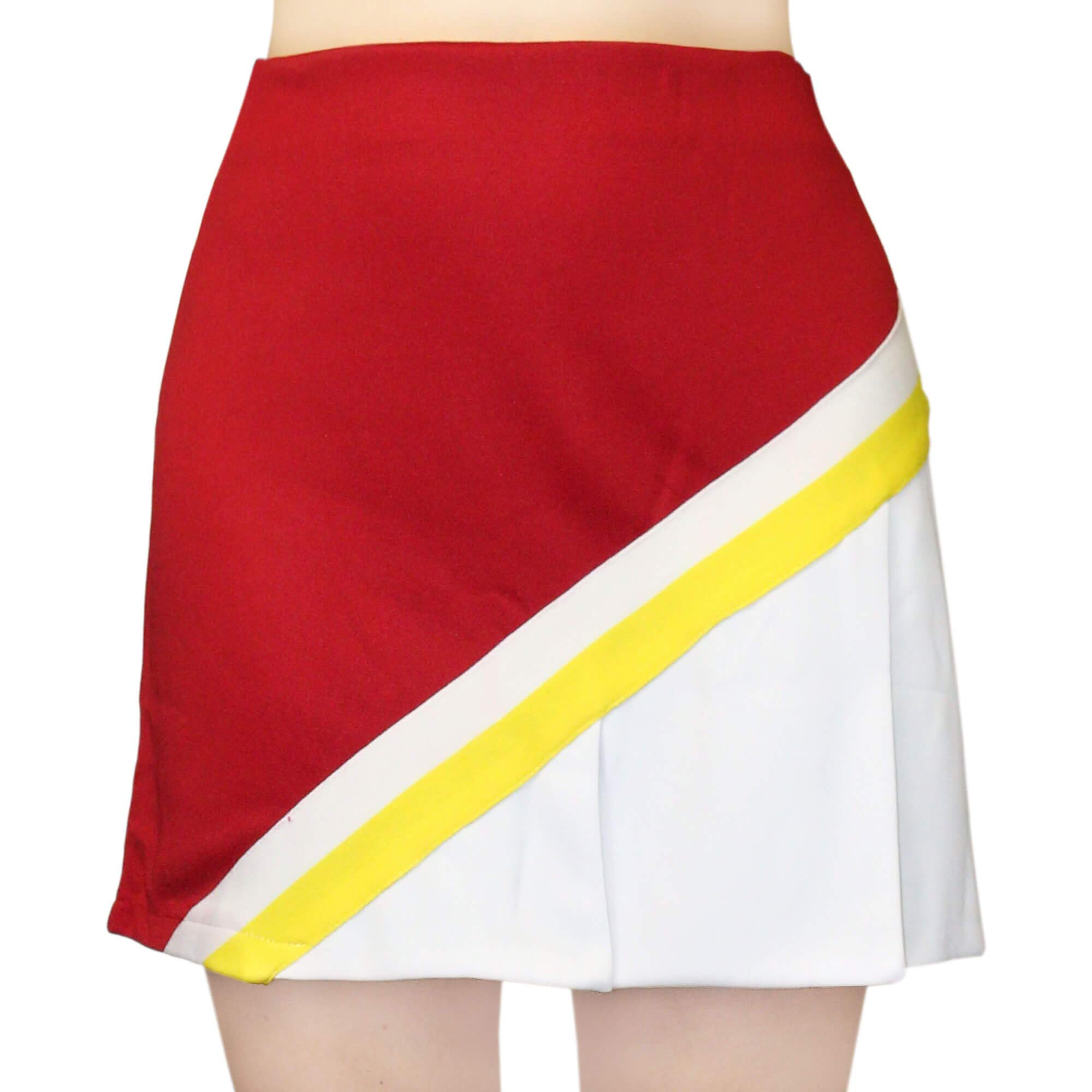 Danzcue Adult Cheerleading A-Line Pleat Skirt, Scarlet-White, Large by Danzcue
