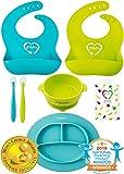 婴儿喂食套装 | 硅胶围嘴盘碗勺 | 分隔盘吸盘碗和软勺辅助自食 | 可调节围嘴易于擦拭清洁 | 减少在幼儿/宝宝后清洁 Lime Green and Turquoise