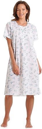 TALLA 10-12. Señoras Señora Olga Polialgodón manga corta Floral Camisón rosa o azul 10-32