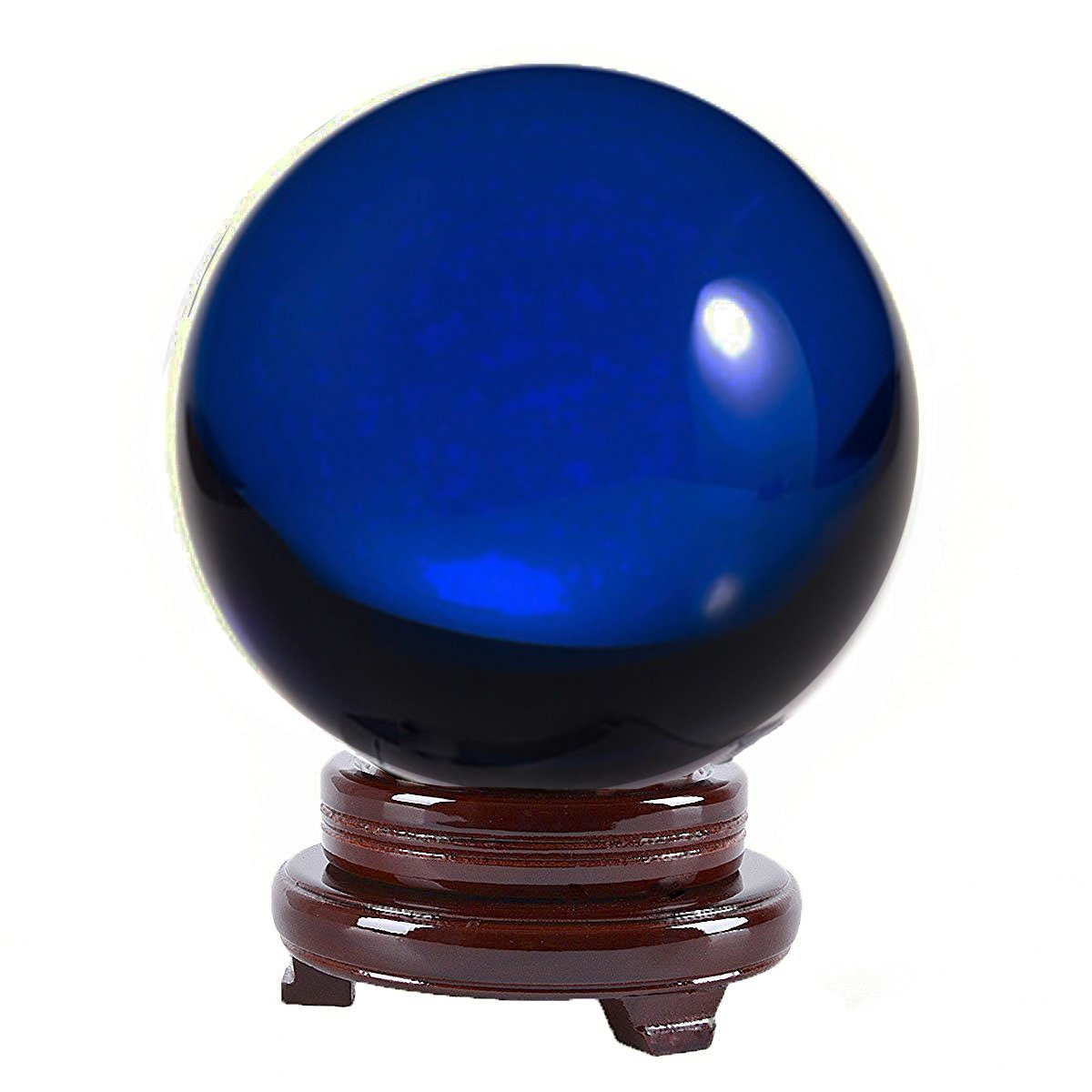 Amlong Crystal 8 inch (200mm) Blue Crystal Ball including Wooden Stand and Gift Package by Amlong Crystal (Image #1)