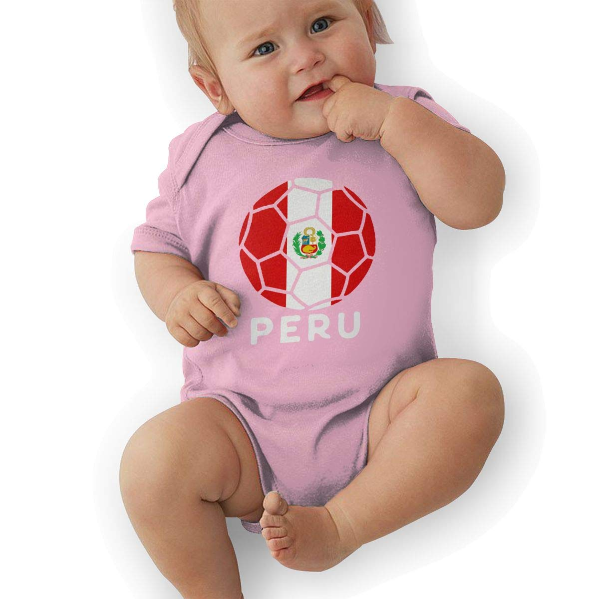 Mri-le2 Unisex Baby Short Sleeve Jersey Bodysuit Peru Flag Football Toddler Jumpsuit